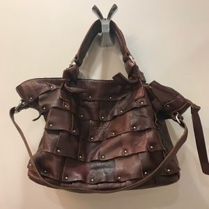 B. Makowsky Brown patchwork leather bag